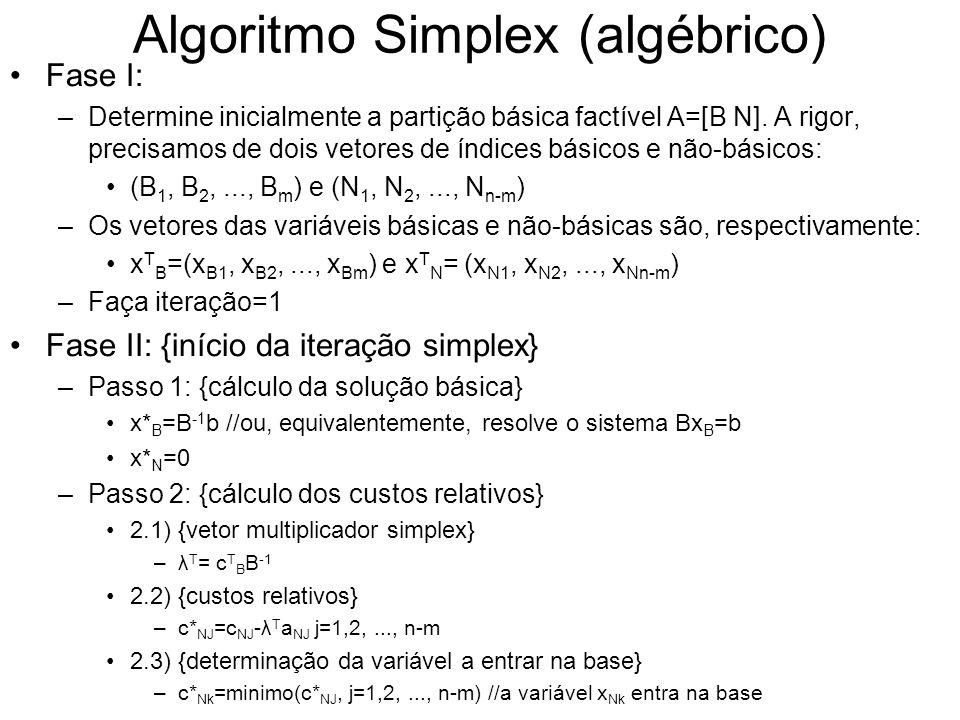 Algoritmo Simplex (algébrico) Fase I: –Determine inicialmente a partição básica factível A=[B N]. A rigor, precisamos de dois vetores de índices básic