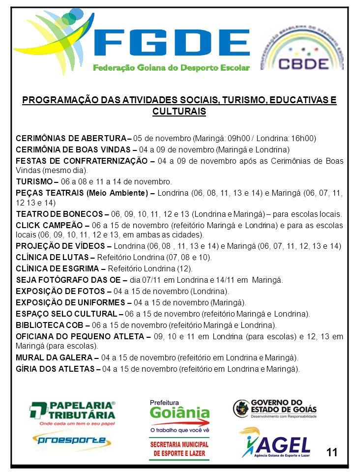 PROGRAMAÇÃO DAS ATIVIDADES SOCIAIS, TURISMO, EDUCATIVAS E CULTURAIS CERIMÔNIAS DE ABERTURA – 05 de novembro (Maringá: 09h00 / Londrina: 16h00) CERIMÔN