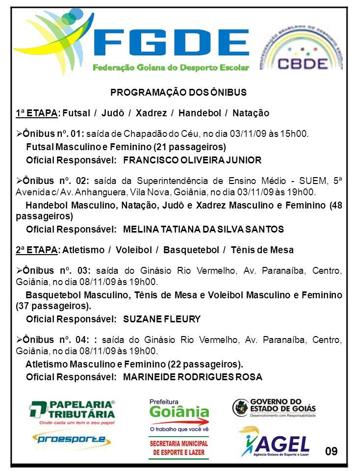 PROGRAMAÇÃO DOS ÔNIBUS 1ª ETAPA: Futsal / Judô / Xadrez / Handebol / Natação Ônibus nº. 01: saída de Chapadão do Céu, no dia 03/11/09 às 15h00. Futsal