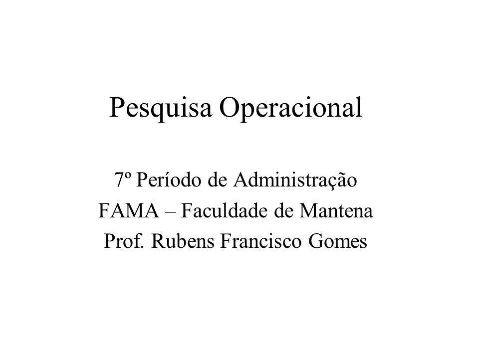 Pesquisa Operacional 7º Período de Administração FAMA – Faculdade de Mantena Prof. Rubens Francisco Gomes
