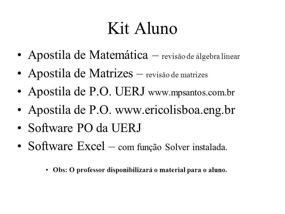 Kit Aluno Apostila de Matemática – revisão de álgebra linear Apostila de Matrizes – revisão de matrizes Apostila de P.O. UERJ www.mpsantos.com.br Apos