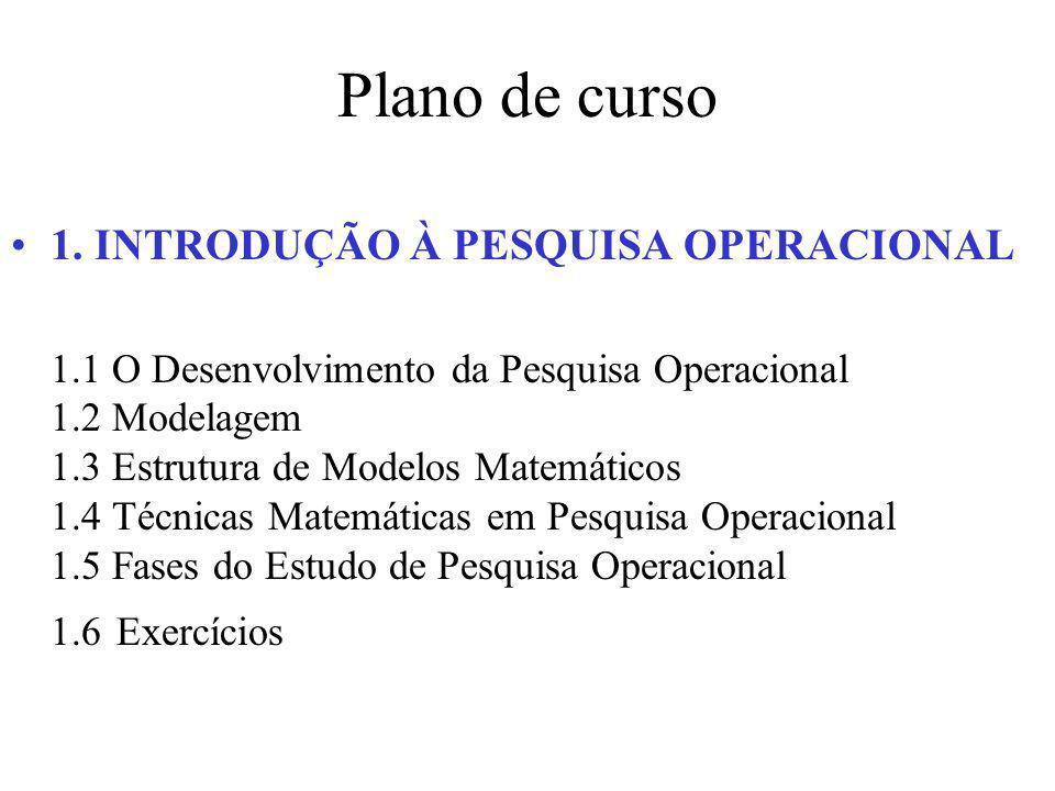 Plano de curso 1. INTRODUÇÃO À PESQUISA OPERACIONAL 1.1 O Desenvolvimento da Pesquisa Operacional 1.2 Modelagem 1.3 Estrutura de Modelos Matemáticos 1