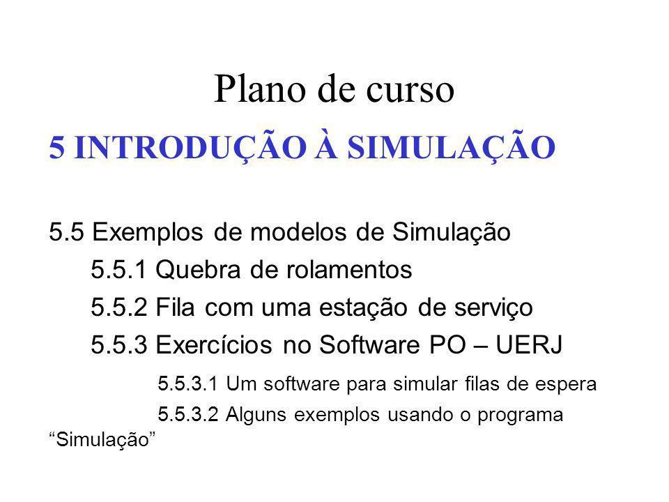 Plano de curso 5 INTRODUÇÃO À SIMULAÇÃO 5.5 Exemplos de modelos de Simulação 5.5.1 Quebra de rolamentos 5.5.2 Fila com uma estação de serviço 5.5.3 Ex