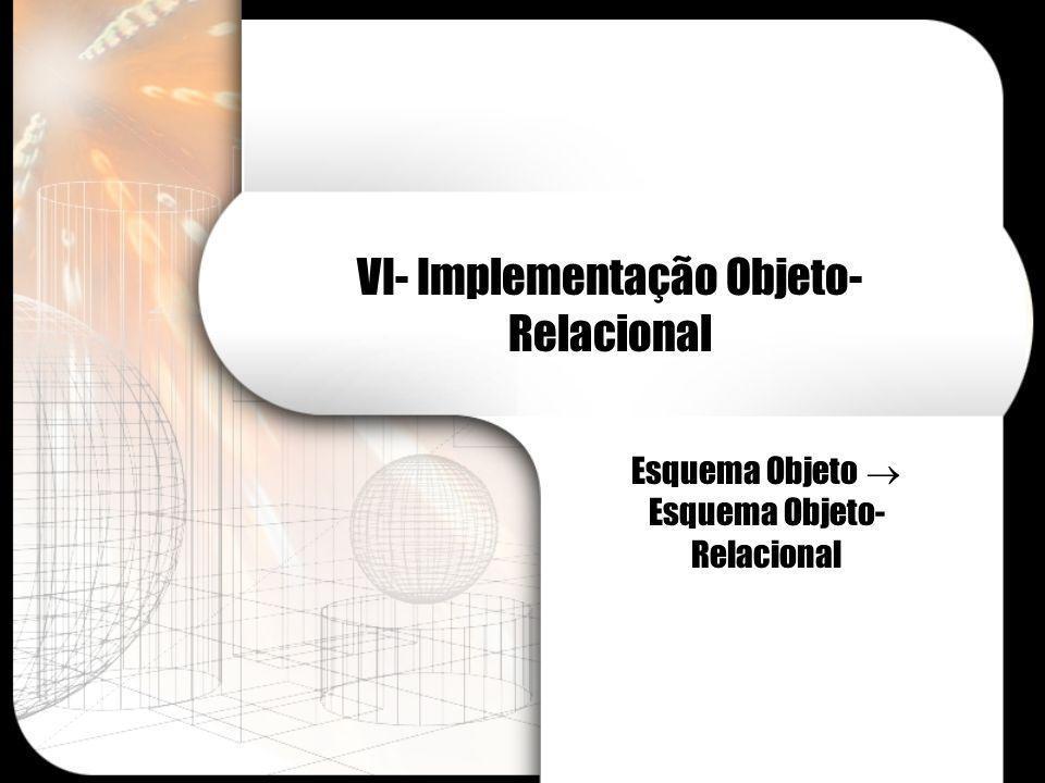 VI- Implementação Objeto- Relacional Esquema Objeto Esquema Objeto- Relacional
