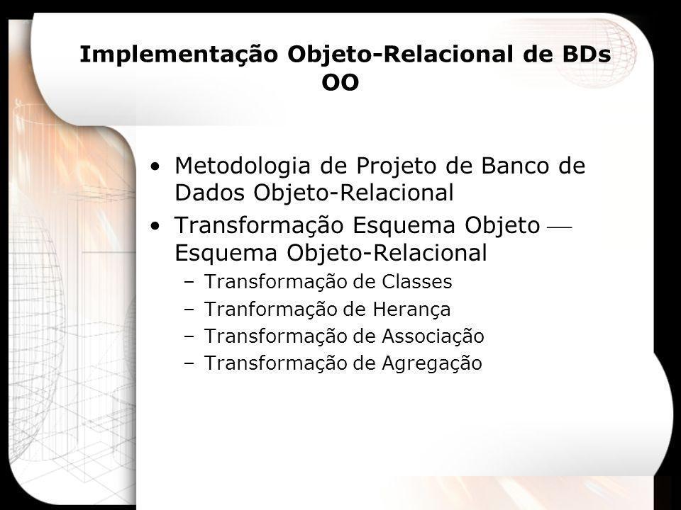 Metodologia de Projeto de Banco de Dados Objeto-Relacional AnáliseProjetoImplementação Diagrama de Classes UML/ ODMG UML + SQL1999 UML + Produto Especificação SQL1999 Especificação Produto Implemen- tação Projeto Lógico PadrãoProjeto Lógico Espec.
