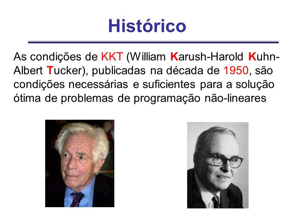 Histórico As condições de KKT (William Karush-Harold Kuhn- Albert Tucker), publicadas na década de 1950, são condições necessárias e suficientes para