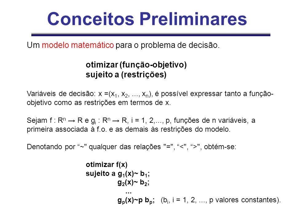 Um modelo matemático para o problema de decisão. otimizar (função-objetivo) sujeito a (restrições) Variáveis de decisão: x =(x 1, x 2,..., x n ), é po