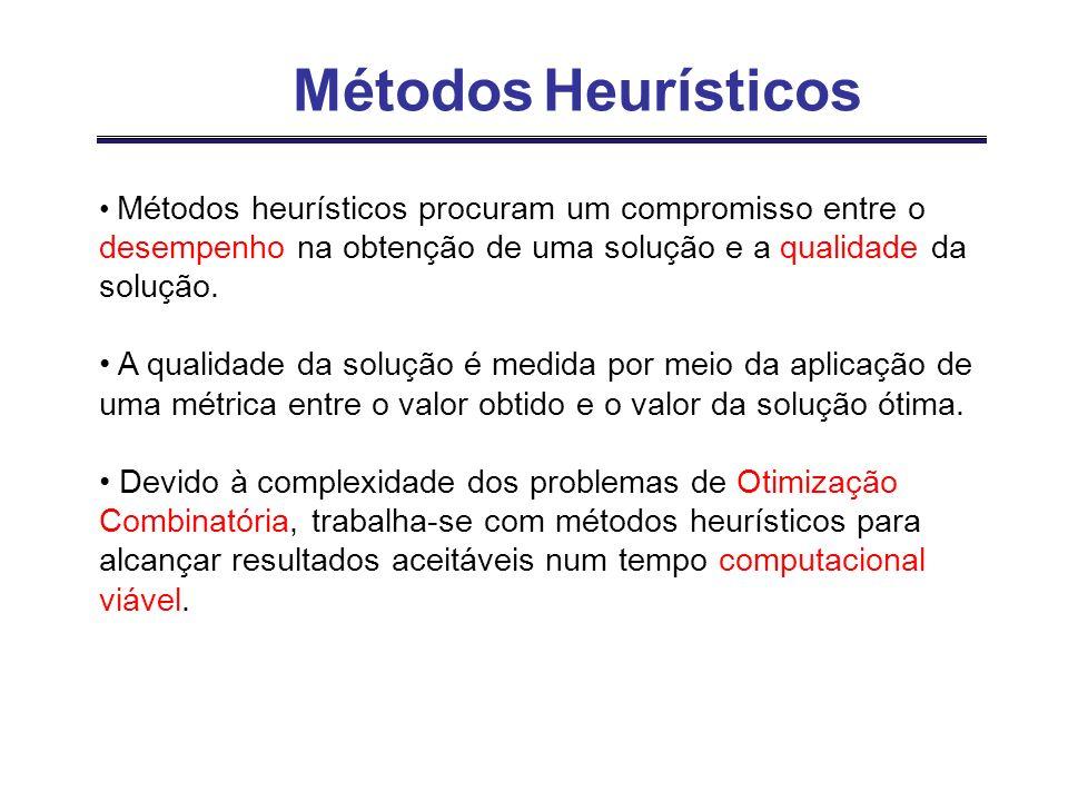 Métodos heurísticos procuram um compromisso entre o desempenho na obtenção de uma solução e a qualidade da solução. A qualidade da solução é medida po