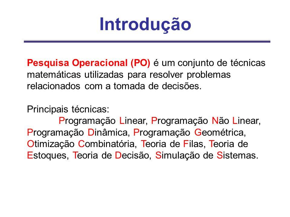 Introdução Pesquisa Operacional (PO) é um conjunto de técnicas matemáticas utilizadas para resolver problemas relacionados com a tomada de decisões. P