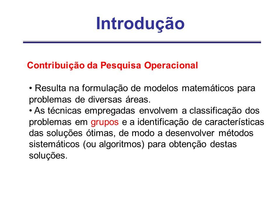 Introdução Contribuição da Pesquisa Operacional Resulta na formulação de modelos matemáticos para problemas de diversas áreas. As técnicas empregadas