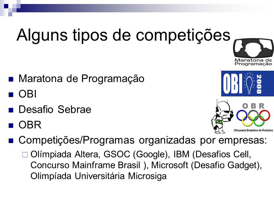 Alguns tipos de competições Maratona de Programação OBI Desafio Sebrae OBR Competições/Programas organizadas por empresas: Olímpiada Altera, GSOC (Google), IBM (Desafios Cell, Concurso Mainframe Brasil ), Microsoft (Desafio Gadget), Olimpíada Universitária Microsiga