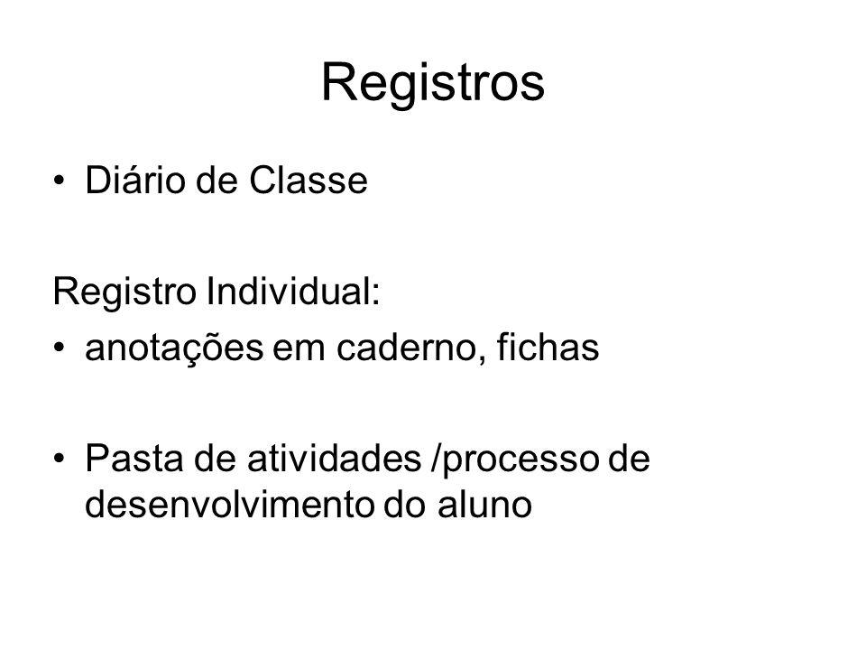 Registros Diário de Classe Registro Individual: anotações em caderno, fichas Pasta de atividades /processo de desenvolvimento do aluno