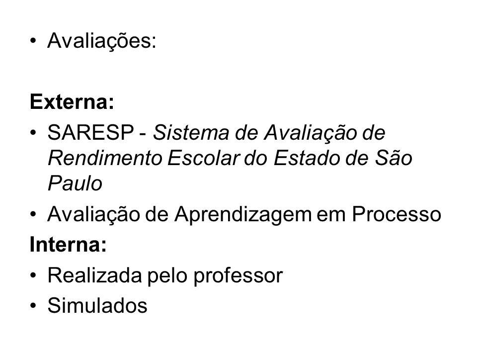 Avaliações: Externa: SARESP - Sistema de Avaliação de Rendimento Escolar do Estado de São Paulo Avaliação de Aprendizagem em Processo Interna: Realiza