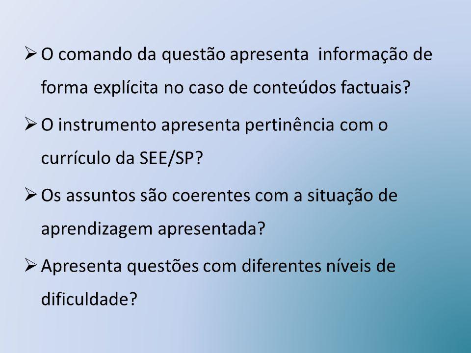 O comando da questão apresenta informação de forma explícita no caso de conteúdos factuais? O instrumento apresenta pertinência com o currículo da SEE