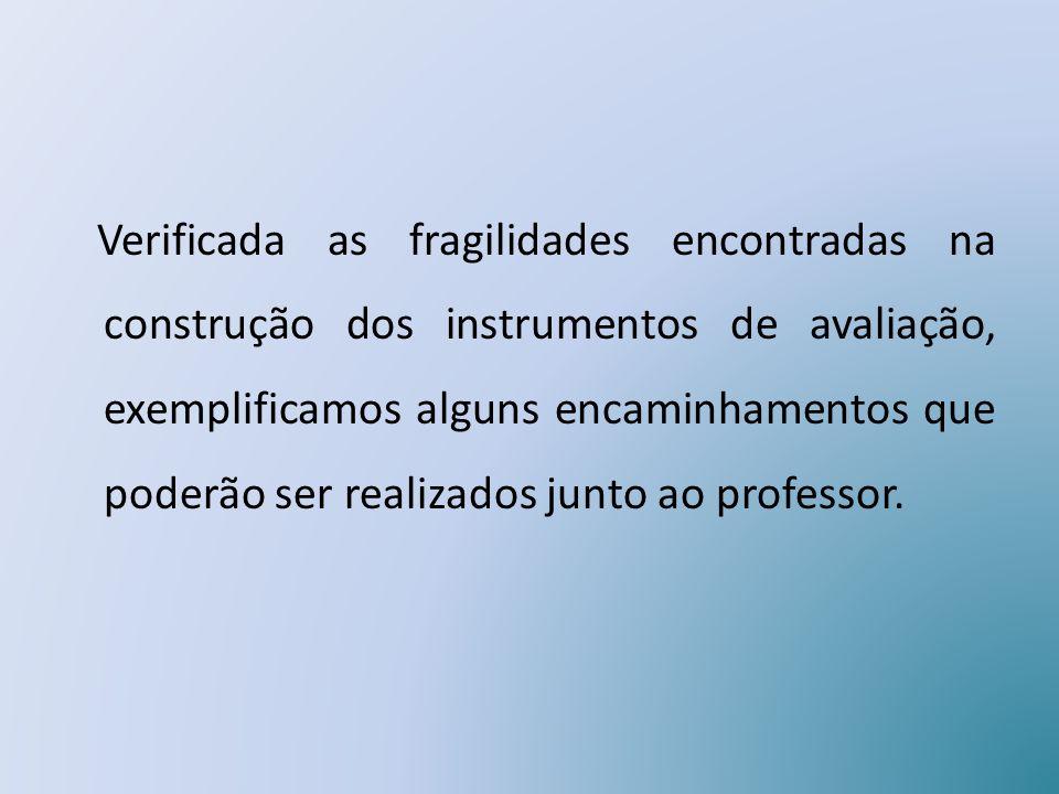 Verificada as fragilidades encontradas na construção dos instrumentos de avaliação, exemplificamos alguns encaminhamentos que poderão ser realizados j