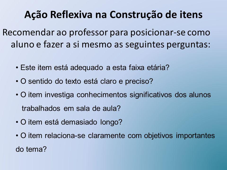 Ação Reflexiva na Construção de itens Recomendar ao professor para posicionar-se como aluno e fazer a si mesmo as seguintes perguntas: Este item está