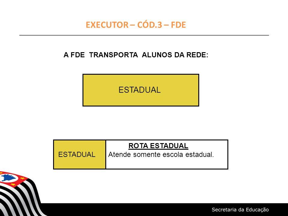 EXECUTOR – CÓD.3 – FDE A FDE TRANSPORTA ALUNOS DA REDE: ESTADUAL ESTADUAL ROTA ESTADUAL Atende somente escola estadual.