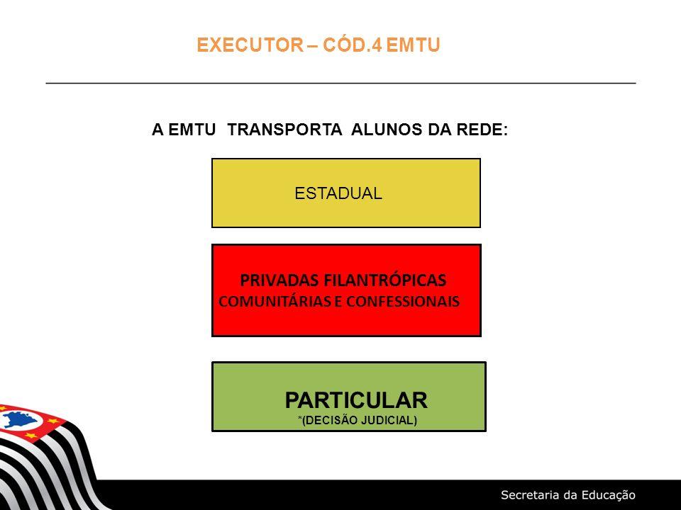 EXECUTOR – CÓD.4 EMTU A EMTU TRANSPORTA ALUNOS DA REDE: ESTADUAL PRIVADAS FILANTRÓPICAS COMUNITÁRIAS E CONFESSIONAIS PARTICULAR *(DECISÃO JUDICIAL)