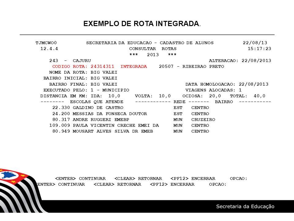 TJMCWO0 SECRETARIA DA EDUCACAO - CADASTRO DE ALUNOS 22/08/13 12.4.4 CONSULTAR ROTAS 15:17:23 *** 2013 *** 243 - CAJURU ALTERACAO: 22/08/2013 CODIGO RO