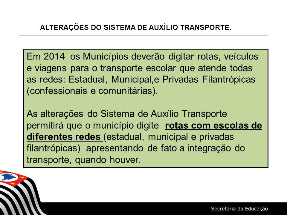 ALTERAÇÕES DO SISTEMA DE AUXÍLIO TRANSPORTE. Em 2014 os Municípios deverão digitar rotas, veículos e viagens para o transporte escolar que atende toda