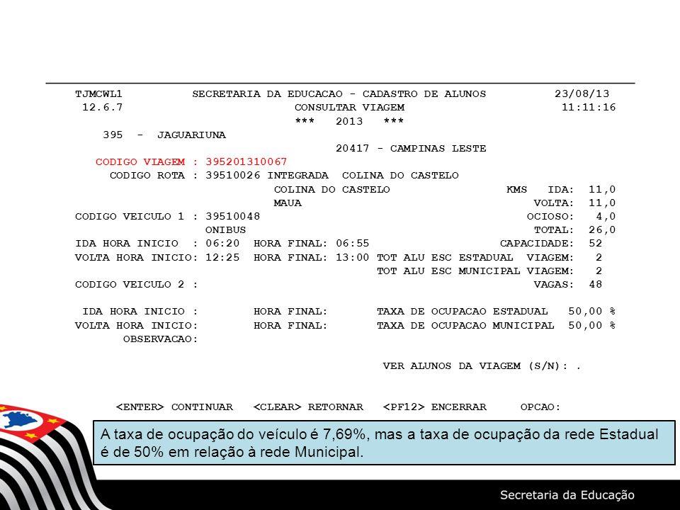 TJMCWL1 SECRETARIA DA EDUCACAO - CADASTRO DE ALUNOS 23/08/13 12.6.7 CONSULTAR VIAGEM 11:11:16 *** 2013 *** 395 - JAGUARIUNA 20417 - CAMPINAS LESTE COD