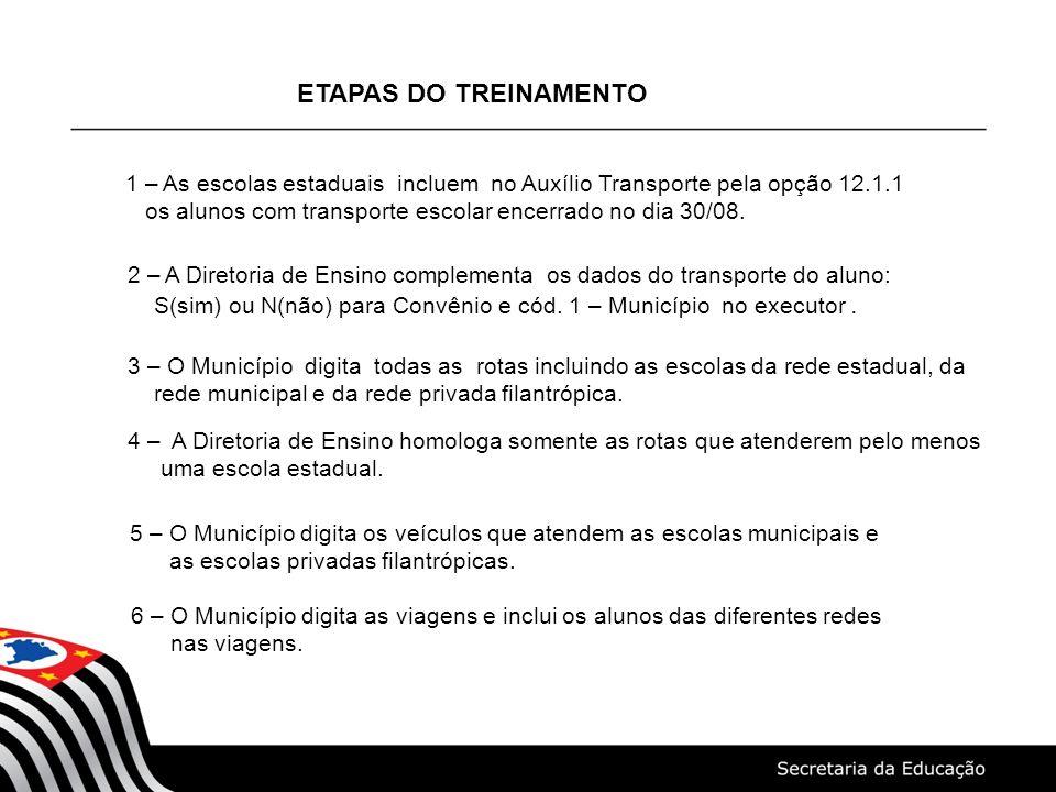 ETAPAS DO TREINAMENTO 1 – As escolas estaduais incluem no Auxílio Transporte pela opção 12.1.1 os alunos com transporte escolar encerrado no dia 30/08