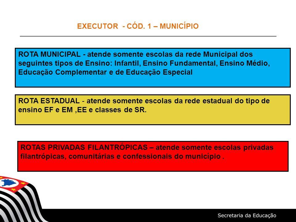 EXECUTOR - CÓD. 1 – MUNICÍPIO ROTA MUNICIPAL - atende somente escolas da rede Municipal dos seguintes tipos de Ensino: Infantil, Ensino Fundamental, E