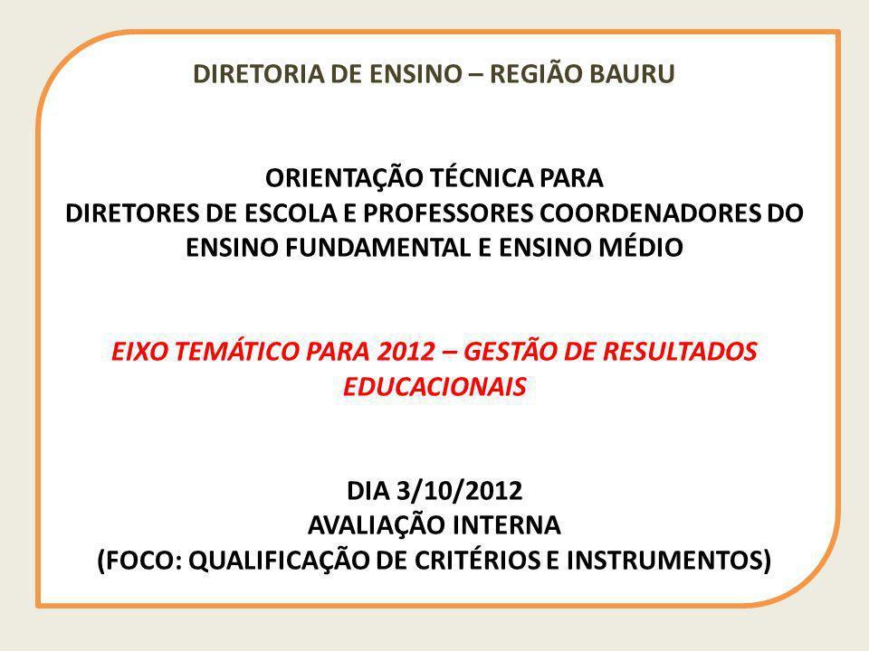 DIRETORIA DE ENSINO – REGIÃO BAURU ORIENTAÇÃO TÉCNICA PARA DIRETORES DE ESCOLA E PROFESSORES COORDENADORES DO ENSINO FUNDAMENTAL E ENSINO MÉDIO EIXO T