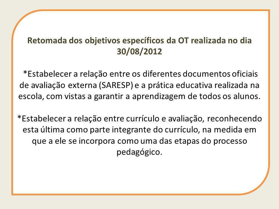 Retomada dos objetivos específicos da OT realizada no dia 30/08/2012 *Estabelecer a relação entre os diferentes documentos oficiais de avaliação exter