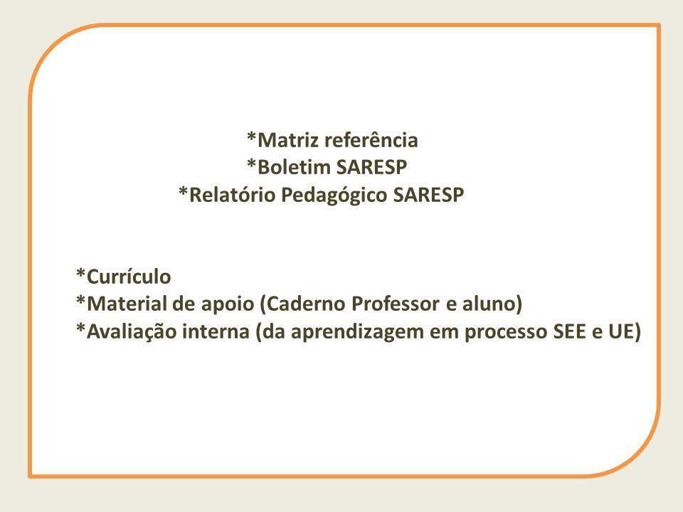 *Matriz referência *Boletim SARESP *Relatório Pedagógico SARESP *Currículo *Material de apoio (Caderno Professor e aluno) *Avaliação interna (da apren