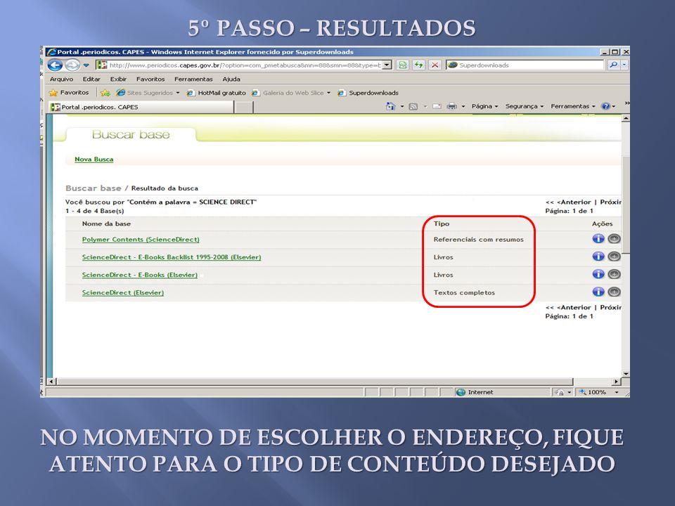 5º PASSO – RESULTADOS BUSCA PELO TOP 25 E/OU BUSCA PELOS CAMPOS DETERMINADOS