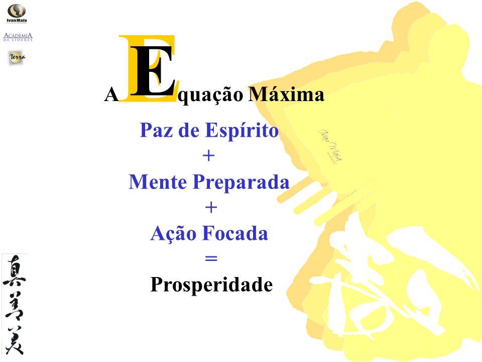 Paz de Espírito + Mente Preparada + Ação Focada = Prosperidade A quação Máxima E E