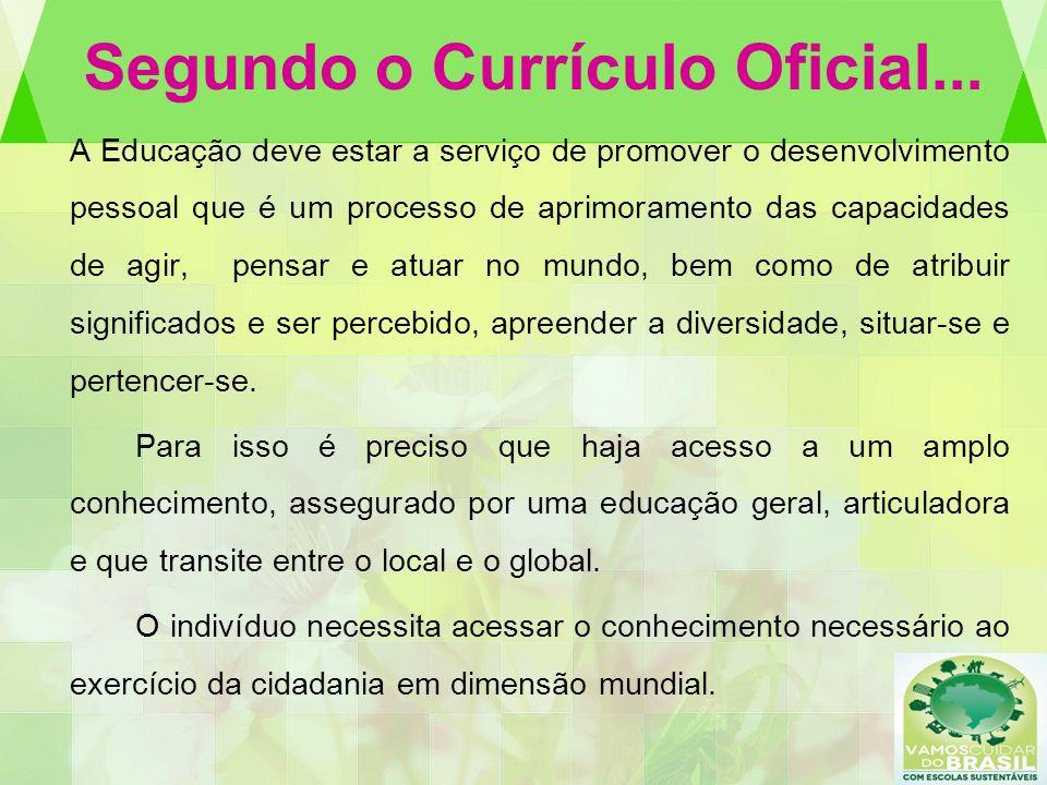 Segundo o Currículo Oficial... A Educação deve estar a serviço de promover o desenvolvimento pessoal que é um processo de aprimoramento das capacidade