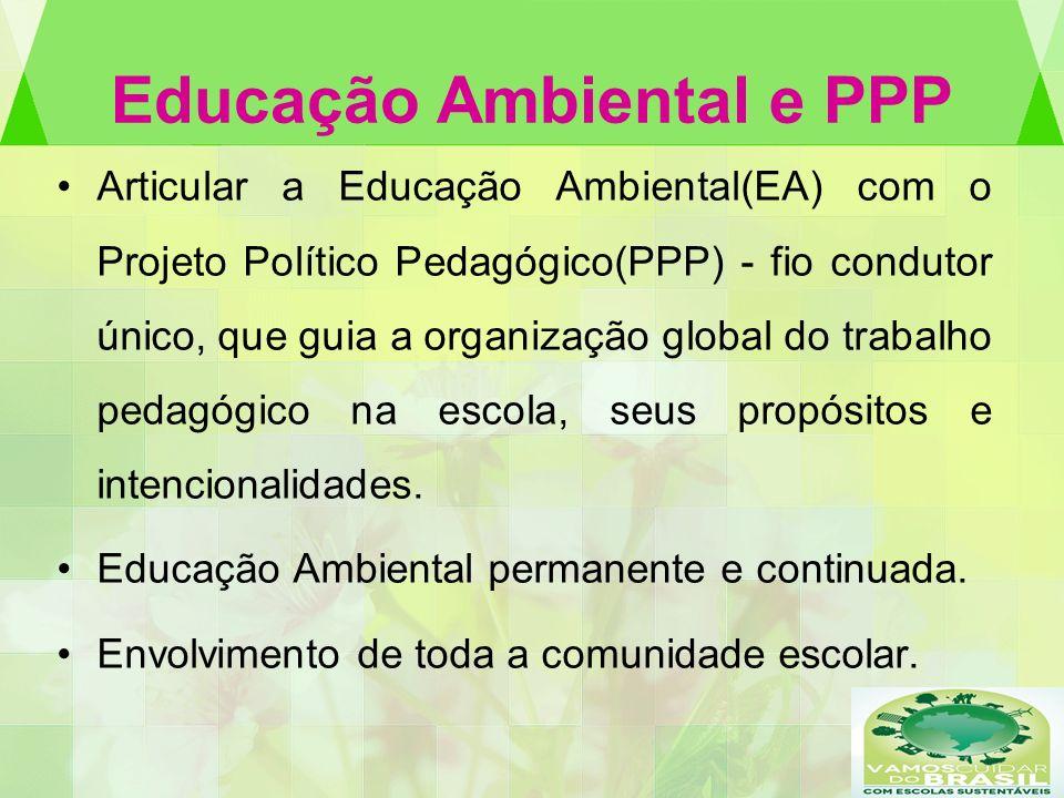 Educação Ambiental e PPP Articular a Educação Ambiental(EA) com o Projeto Político Pedagógico(PPP) - fio condutor único, que guia a organização global