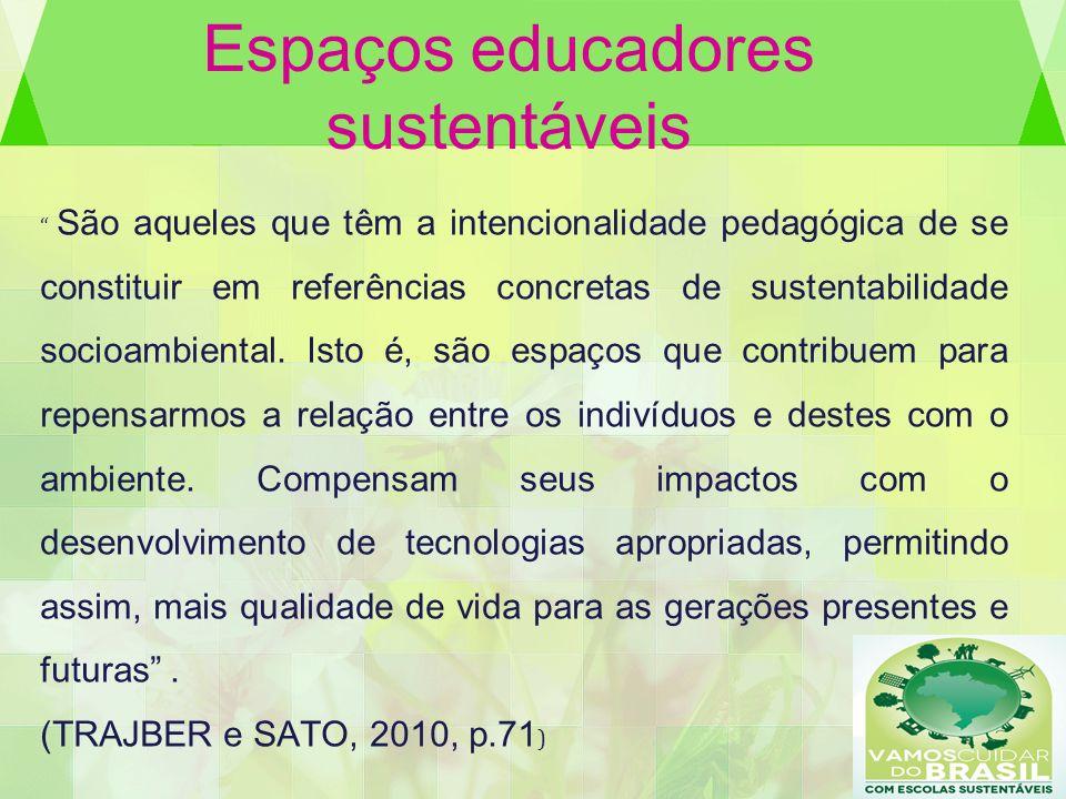 Espaços educadores sustentáveis São aqueles que têm a intencionalidade pedagógica de se constituir em referências concretas de sustentabilidade socioa
