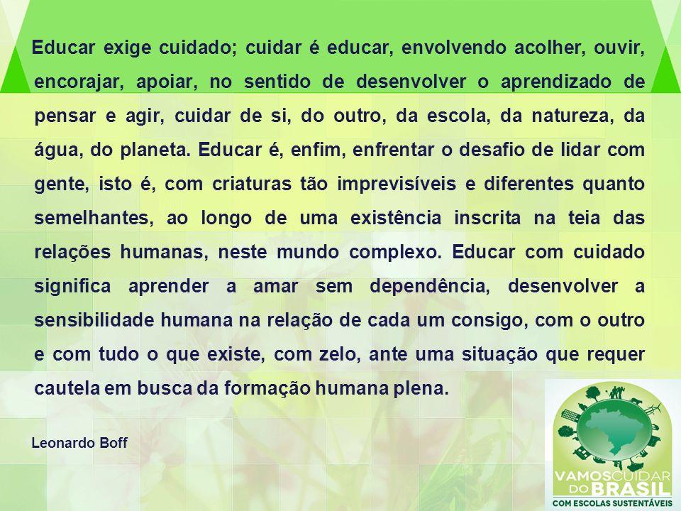 Educar exige cuidado; cuidar é educar, envolvendo acolher, ouvir, encorajar, apoiar, no sentido de desenvolver o aprendizado de pensar e agir, cuidar