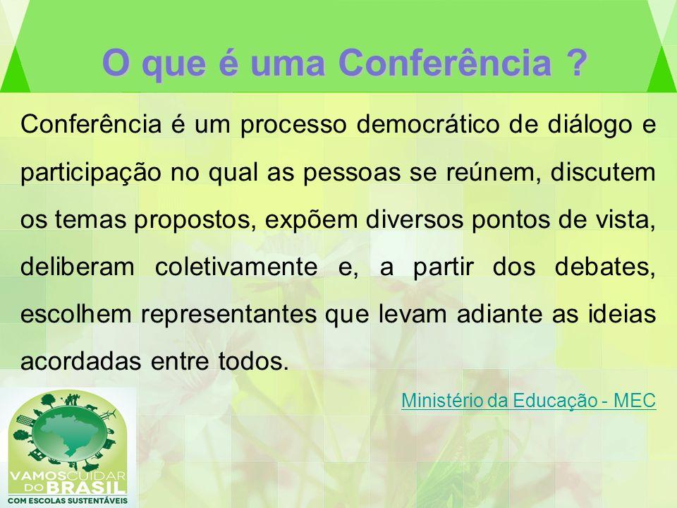 O que é uma Conferência ? Conferência é um processo democrático de diálogo e participação no qual as pessoas se reúnem, discutem os temas propostos, e