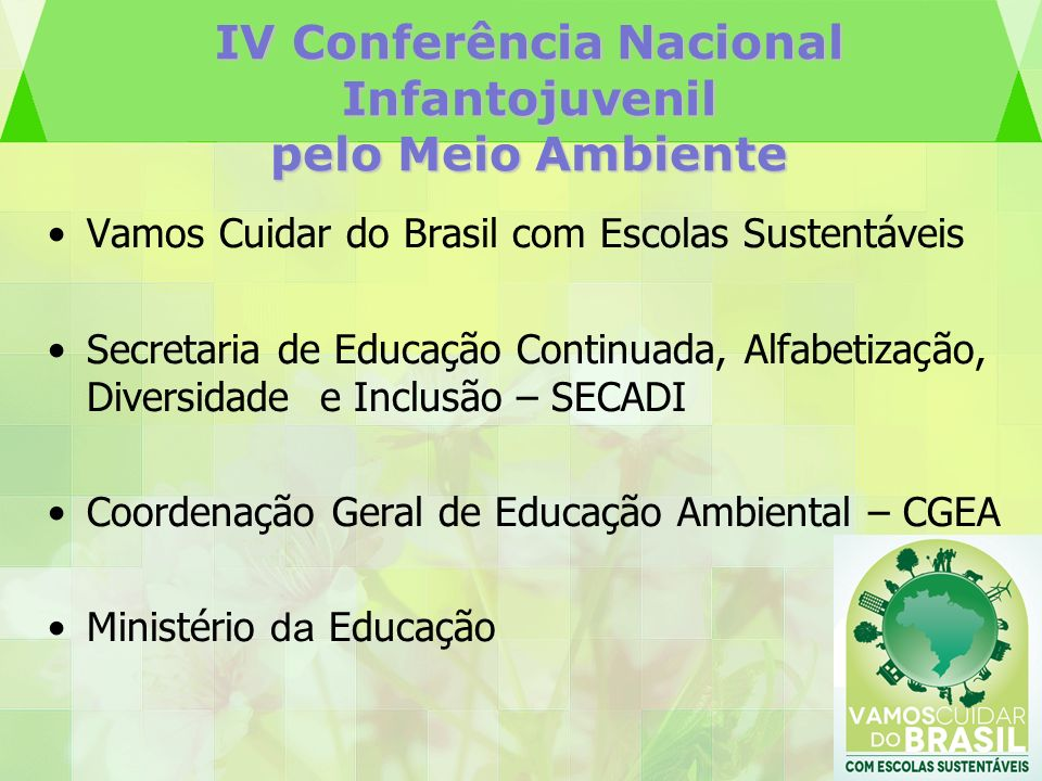 IV Conferência Nacional Infantojuvenil pelo Meio Ambiente Vamos Cuidar do Brasil com Escolas Sustentáveis Secretaria de Educação Continuada, Alfabetiz