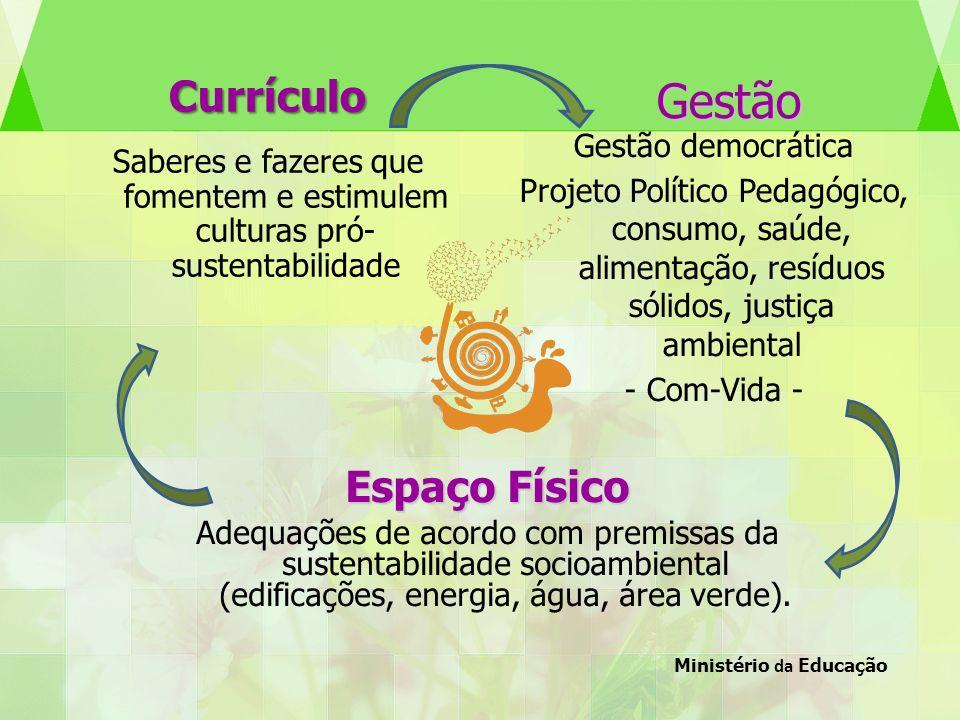 Currículo Saberes e fazeres que fomentem e estimulem culturas pró- sustentabilidade Gestão democrática Projeto Político Pedagógico, consumo, saúde, al