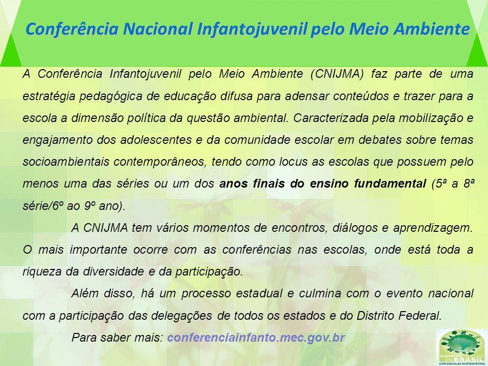 Conferência Nacional Infantojuvenil pelo Meio Ambiente A Conferência Infantojuvenil pelo Meio Ambiente (CNIJMA) faz parte de uma estratégia pedagógica