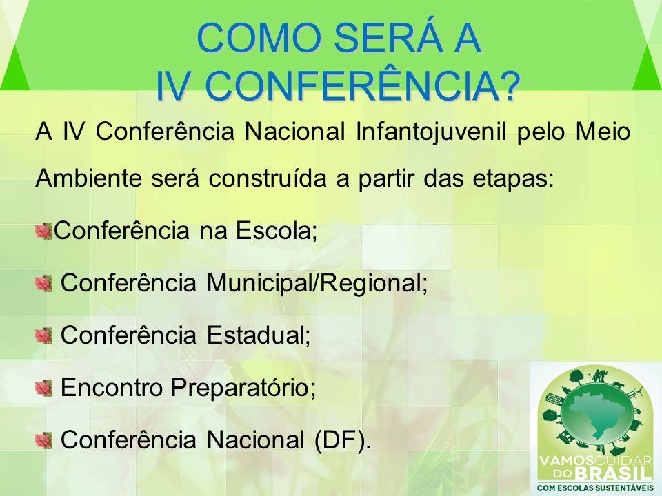 COMO SERÁ A IV CONFERÊNCIA? A IV Conferência Nacional Infantojuvenil pelo Meio Ambiente será construída a partir das etapas: Conferência na Escola; Co