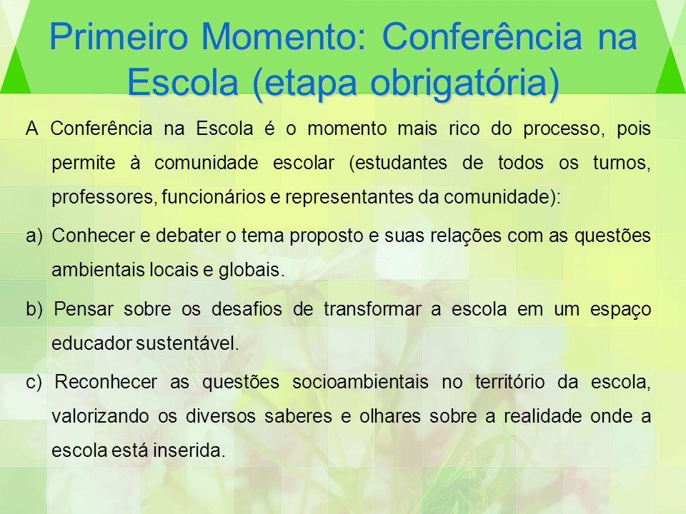 Primeiro Momento: Conferência na Escola (etapa obrigatória) A Conferência na Escola é o momento mais rico do processo, pois permite à comunidade escol
