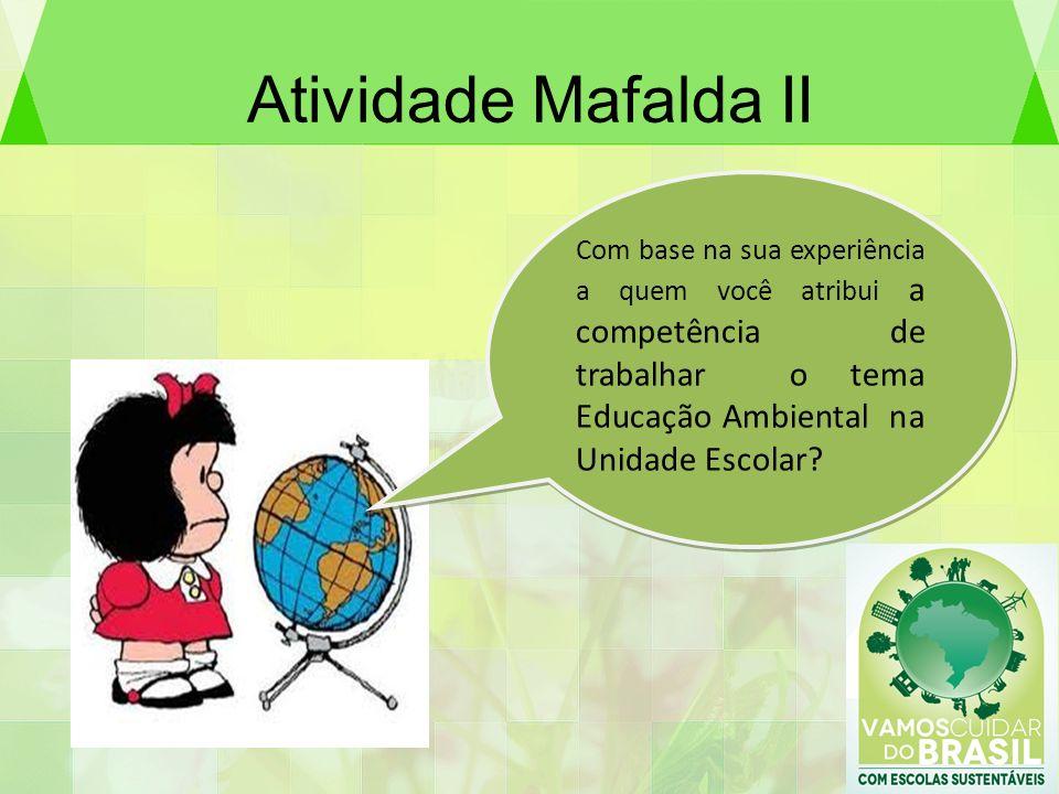 Atividade Mafalda II Com base na sua experiência a quem você atribui a competência de trabalhar o tema Educação Ambiental na Unidade Escolar?
