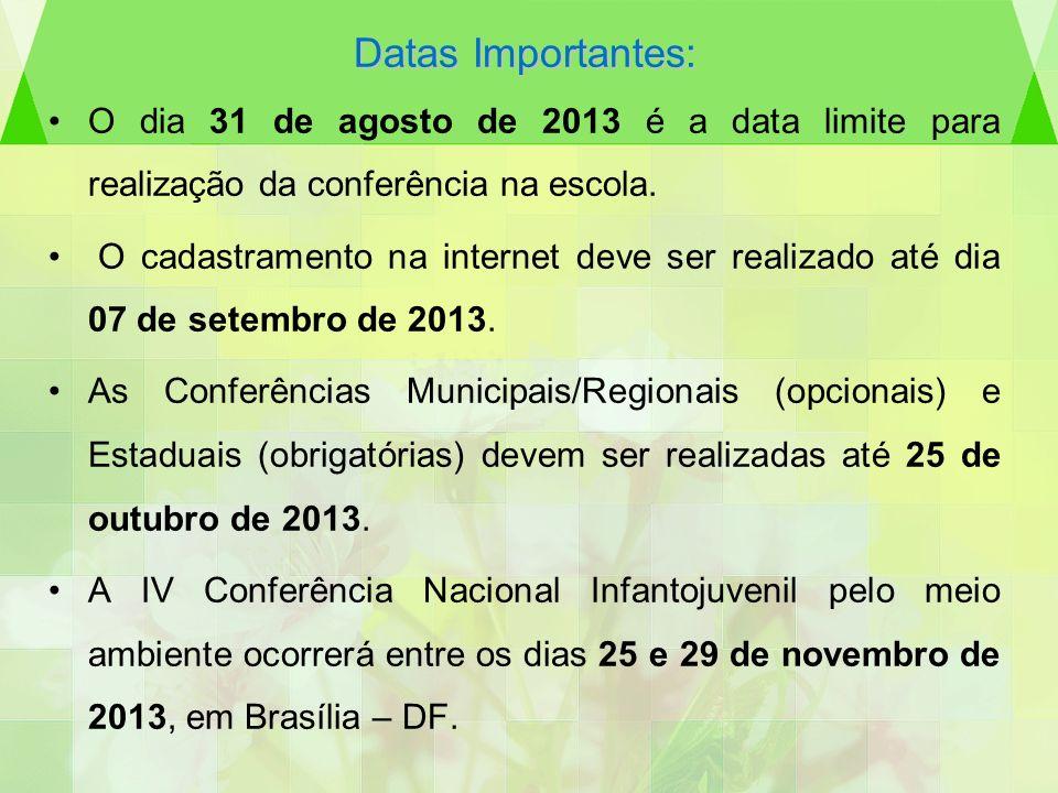 Datas Importantes: O dia 31 de agosto de 2013 é a data limite para realização da conferência na escola. O cadastramento na internet deve ser realizado