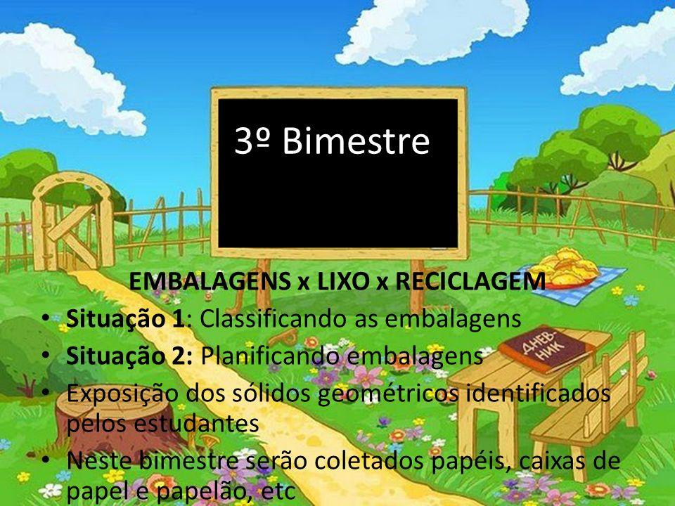 3º Bimestre EMBALAGENS x LIXO x RECICLAGEM Situação 1: Classificando as embalagens Situação 2: Planificando embalagens Exposição dos sólidos geométric