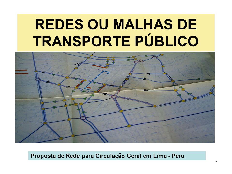 1 REDES OU MALHAS DE TRANSPORTE PÚBLICO Proposta de Rede para Circulação Geral em Lima - Peru