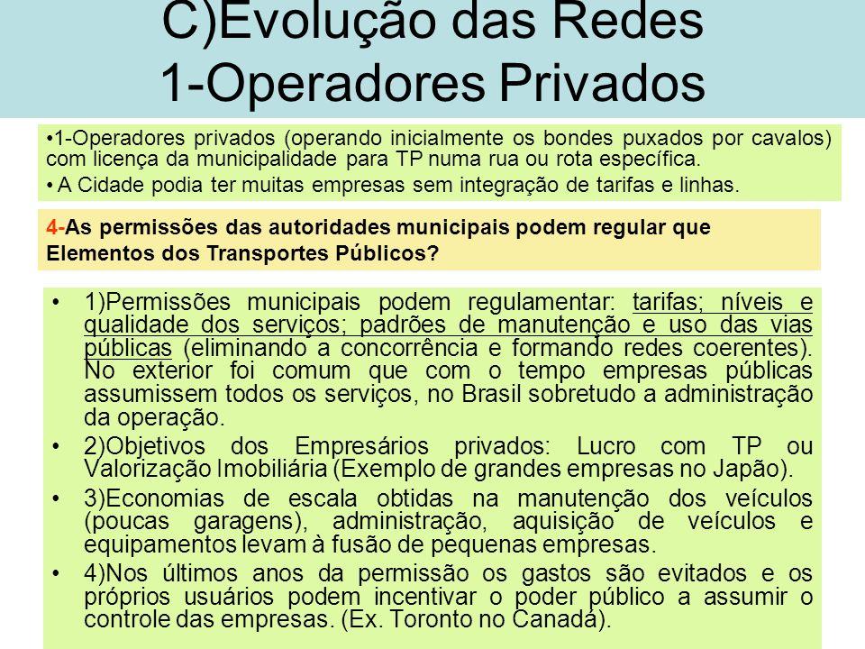 13 C)Evolução das Redes 1-Operadores Privados 1)Permissões municipais podem regulamentar: tarifas; níveis e qualidade dos serviços; padrões de manuten