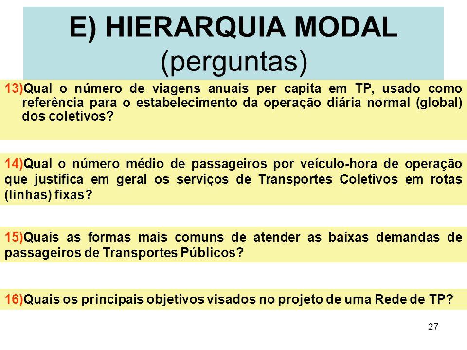 27 13)Qual o número de viagens anuais per capita em TP, usado como referência para o estabelecimento da operação diária normal (global) dos coletivos?