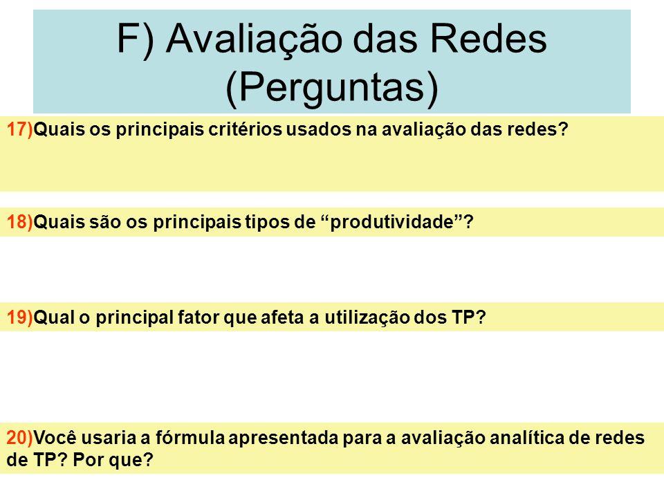 29 F) Avaliação das Redes (Perguntas) 17)Quais os principais critérios usados na avaliação das redes? 18)Quais são os principais tipos de produtividad