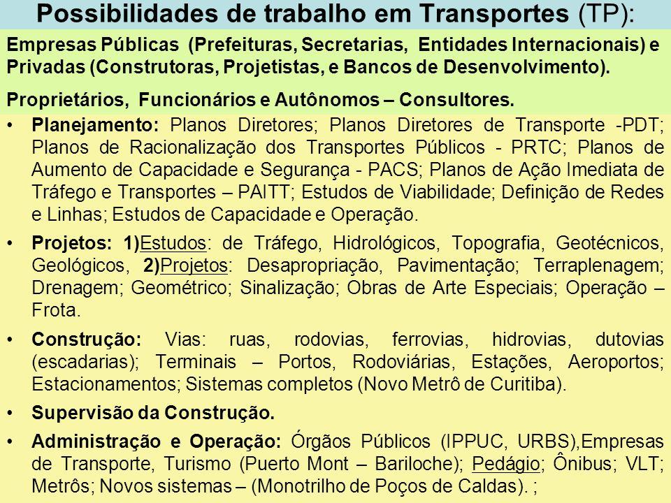 3 Possibilidades de trabalho em Transportes (TP): Planejamento: Planos Diretores; Planos Diretores de Transporte -PDT; Planos de Racionalização dos Tr